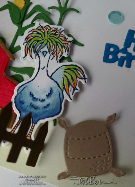 Fun Fold Friday - Hey Chick & Hey Birthday Chick Barnyard Scene | Tracy Marie Lewis | www.stuffnthingz.com
