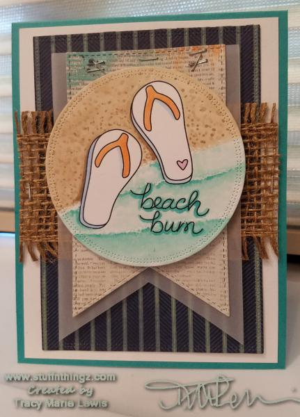 Beach Bum Flip Flops Card | Tracy Marie Lewis | www.stuffnthingz.com
