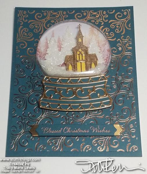 Dark Teal Church Snowglobe Card | Tracy Marie Lewis | www.stuffnthingz.com