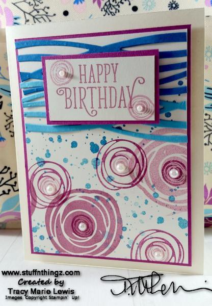 Swirly Floral Happy Birthday Card | Tracy Marie Lewis | www.stuffnthingz.com