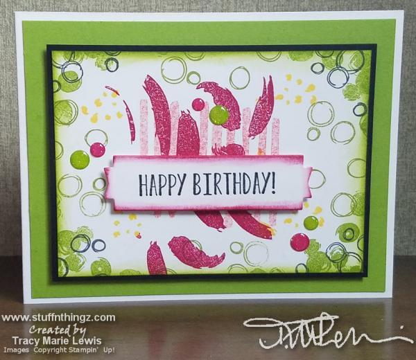 Playful Background Happy Birthday Card | Tracy Marie Lewis | www.stuffnthingz.com