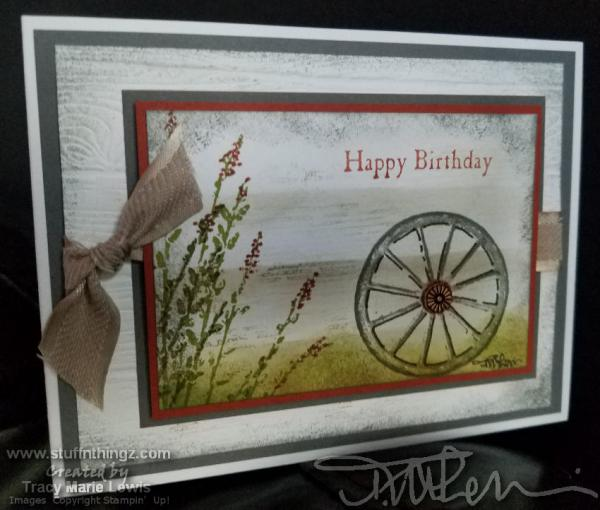 Country Wheel Happy Birthday Card   Tracy Marie Lewis   www.stuffnthingz.com