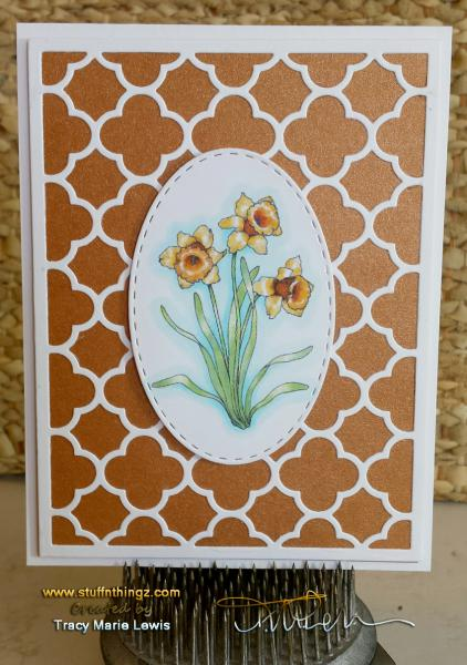 Daffodil March Flower CAS Card | Tracy Marie Lewis | www.stuffnthingz.com