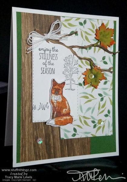 Fall Leaves & Wood Grain Fox Card    Tracy Marie Lewis   www.stuffnthingz.com