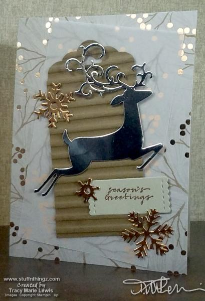 Silver Foil Dashing Deer | Tracy Marie Lewis | www.stuffnthingz.com