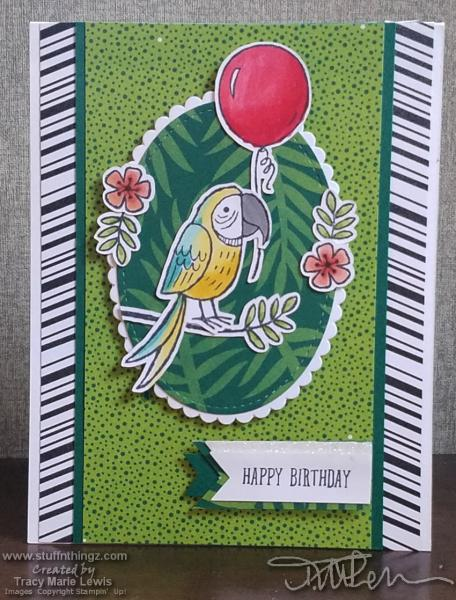 Parrot Birthday Card With Lots Of Repeating Patterns | Tracy Marie Lewis | www.stuffnthingz.com