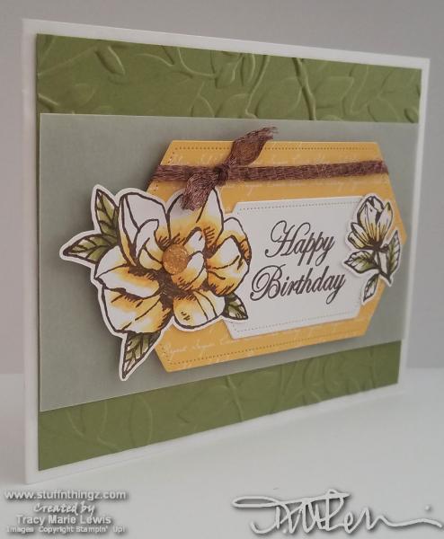 Yellow Magnolia Birthday Card | Tracy Marie Lewis | www.stuffnthing.com