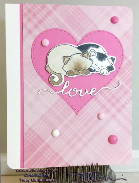 Newton's Nook Love Card for Inky Paws Challenge #28 | Tracy Marie Lewis | www.stuffnthingz.com
