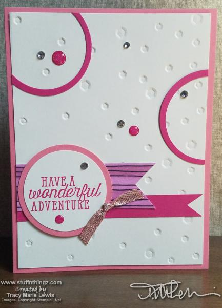 Pink Circles Adventure Card | Tracy Marie Lewis | www.stuffnthingz.com