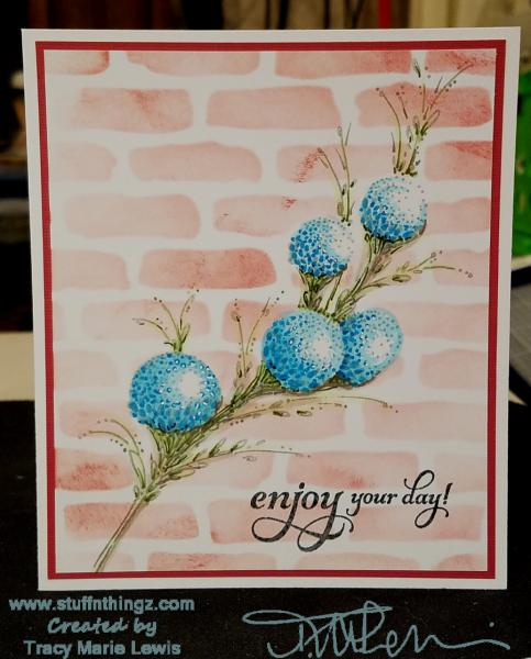 Cheerful Blue Floral Enjoy Your Day Card | Tracy Marie Lewis | www.stuffnthingz.com