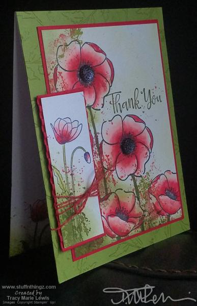 Red Splatter Poppies Thank You Card   Tracy Marie Lewis   www.stuffnthingz.com