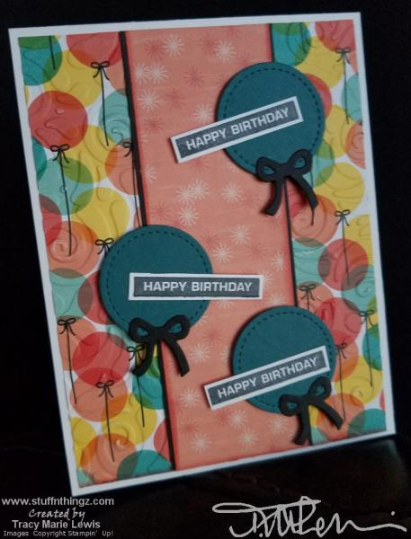 Round Balloons Happy Birthday Card   Tracy Marie Lewis   www.stuffnthingz.com