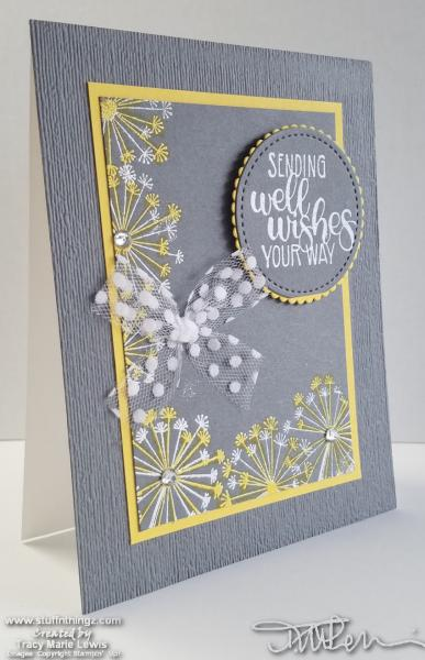 Gray And Yellow Dandelion Wishing Well Card | Tracy Marie Lewis | www.stuffnthingz.com