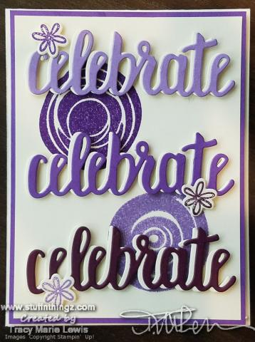 Celebrate In Purples Card No Embellishments | Tracy Marie Lewis | www.stuffnthingz.com