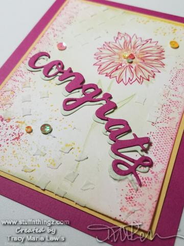 Congrats Floral Mixed Media Card Angle | Tracy Marie Lewis | www.stuffnthingz.com