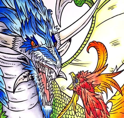 Copic Coloring Project - Dragon vs. Phoenix Close Up| Tracy Marie Lewis | www.stuffnthingz.com