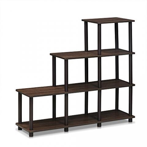FURINNO Turn-N-Tube Ladder Space Shelf, Walnut/Brown