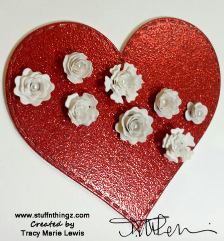 Love with White Rolled Flowers close up | Tracy Marie Lewis | www.stuffnthingz.com