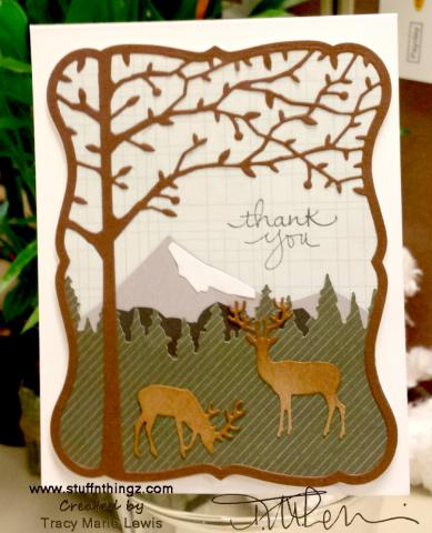 Thank You Mountain Scape with Deer Card   Tracy Marie Lewis   www.stuffnthingz.com