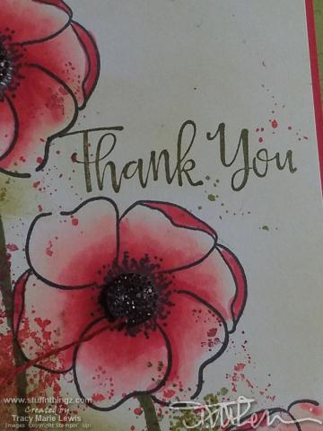 Red Splatter Poppies Thank You Card Close Up #1   Tracy Marie Lewis   www.stuffnthingz.com
