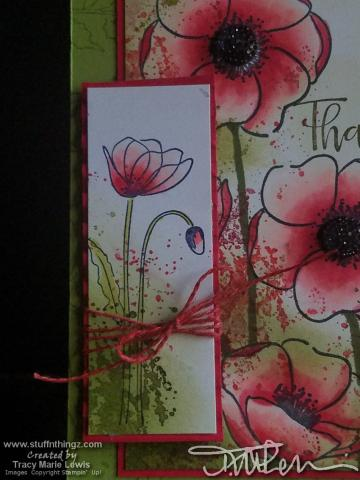 Red Splatter Poppies Thank You Card Close Up #2   Tracy Marie Lewis   www.stuffnthingz.com
