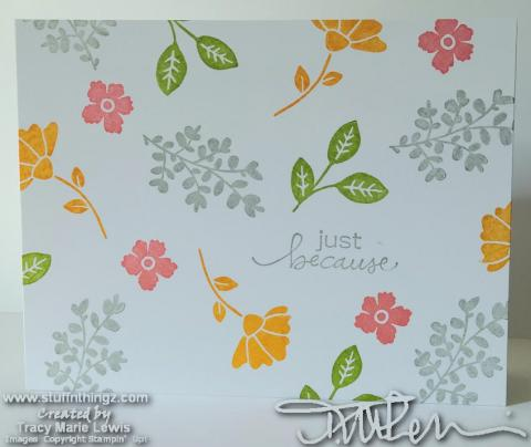 CASEing The New Catty - Simple Stamping - Floral Background Thank You Card