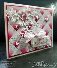 Retiring Showcase - Tile Floral Birthday Card In Lovely Lipstick | Tracy Marie Lewis | www.stuffnthingz.com