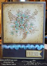 Brown And Blue Floral Friend Card | Tracy Marie Lewis | www.stuffnthingz.com