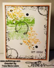 Fall Colors Distressed Happy Birthday Card | Tracy Marie Lewis | www.stuffnthingz.com