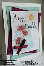Purple Spring Flowers Happy Birthday Card | Tracy Marie Lewis | www.stuffnthingz.com