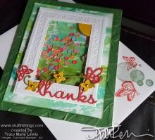 Floral Shaker Window Frame Thanks Card   Tracy Marie Lewis   www.stuffnthingz.com