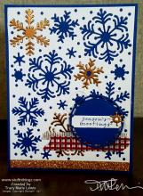 Snowflakes in Copper & Blueberry Bushel card front  | Tracy Marie Lewis | www.stuffnthingz.com