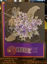 Purple And Orange Dragonfly Floral Friend Card | Tracy Marie Lewis | www.stuffnthingz.com