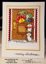 Penguins Teamwork Wreath Christmas Card |Tracy Marie Lewis | www.stuffnthingz.com