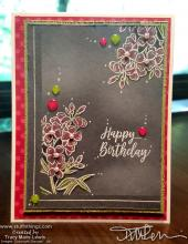 Floral Colored Pencil White Embossed Birthday Card | Tracy Marie Lewis | www.stuffnthingz.com