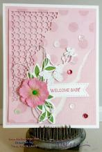 Pink Welcome Baby Girl Card | Tracy Marie Lewis | www.stuffnthingz.com