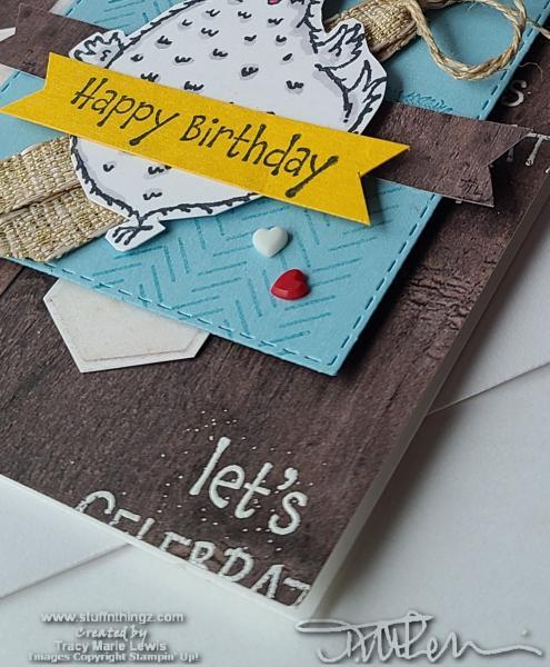 Hey Birthday Chick Woodgrain Card | Tracy Marie Lewis | www.stuffnthingz.com