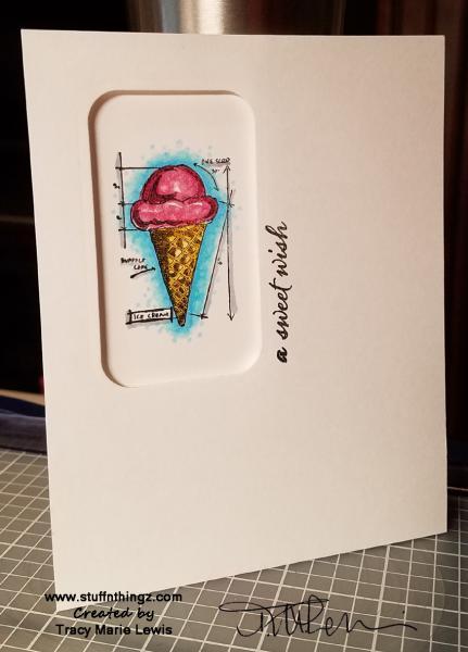 A Sweet Wish Ice Cream Card | Tracy Marie Lewis | www.stuffnthingz.com