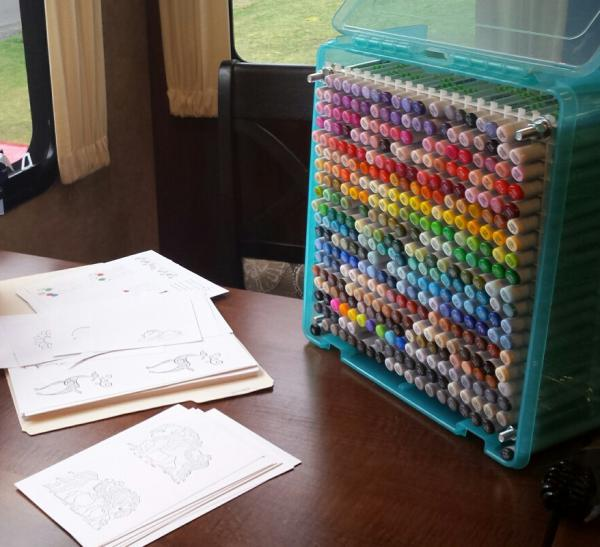 Copic coloring at new table | Tracy Marie Lewis | www.stuffnthingz.com