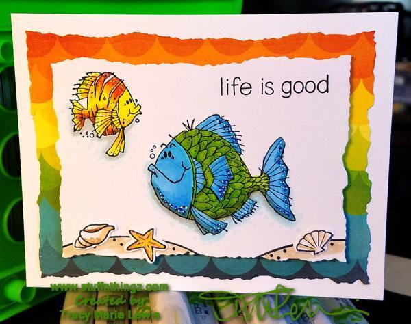 Life Is Good Rainbow Fish Card   Tracy Marie Lewis   www.stuffnthingz.com