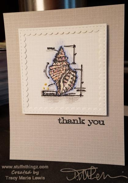 Seashell Thank You Card | Tracy Marie Lewis | www.stuffnthingz.com