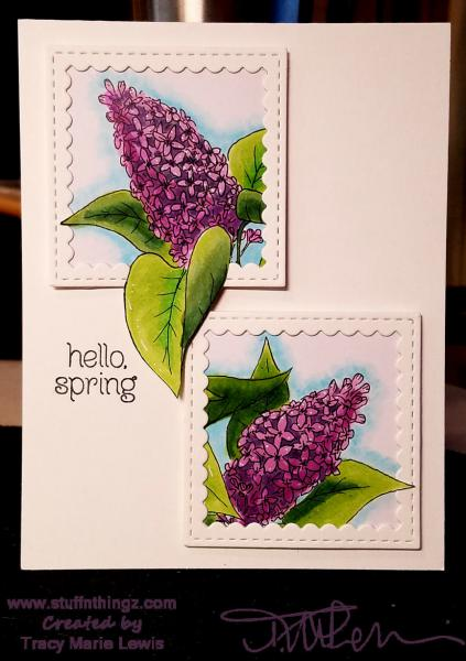 Lilac Hello Spring Card   Tracy Marie Lewis   www.stuffnthingz.com