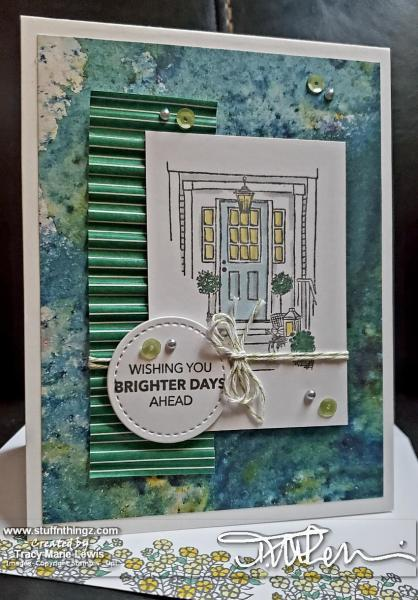 House Spring Card - Green & Blue 1   Tracy Marie Lewis   www.stuffnthingz.com