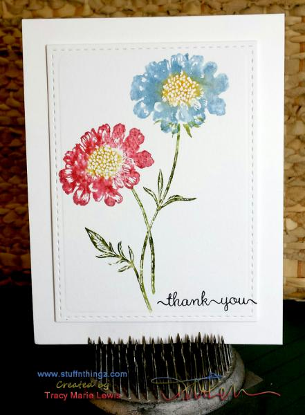 Watercolor Flowers Thank You Card   Tracy Marie Lewis   www.stuffnthingz.com