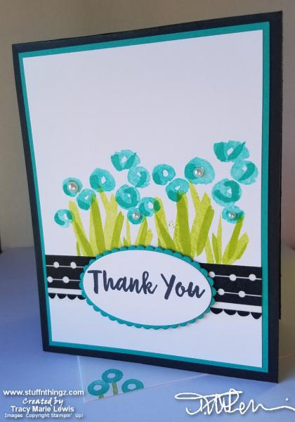 Abstract Garden Black Thank You Card   Tracy Marie Lewis   www.stuffnthingz.com