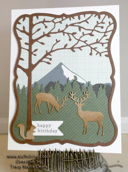 Birthday Mountain Scape with Deer Card   Tracy Marie Lewis   www.stuffnthingz.com