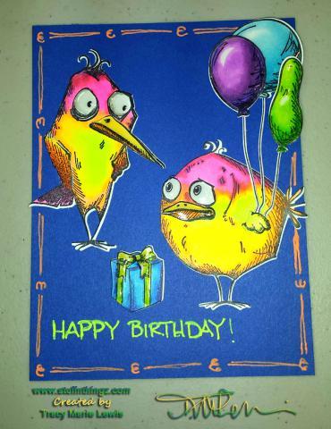 Bird Crazy Fluorescent Birthday Card | Tracy Marie Lewis | www.stuffnthingz.com
