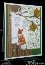 Fall Leaves & Wood Grain Fox Card  | Tracy Marie Lewis | www.stuffnthingz.com