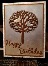 Birds In A Brown Tree Birthday Card | Tracy Marie Lewis | www.stuffnthingz.com