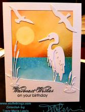Heron Water Scene Birthday Card | Tracy Marie Lewis | www.stuffnthingz.com